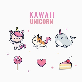 Kawaii style unicorn cute character collection