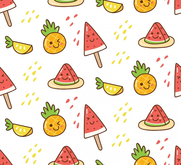 Kawaii summer background with watermelon and pineapple