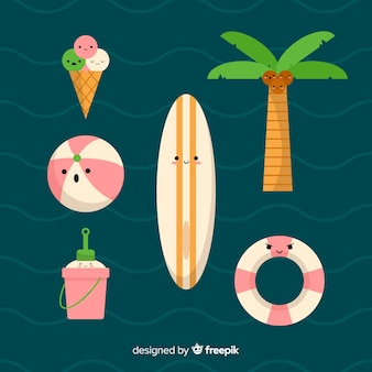 Kawaii summer character collection