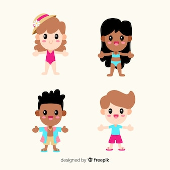 Kawaii summer characters set