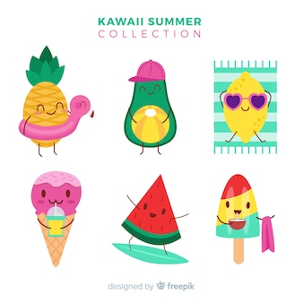 Kawaii summer characters