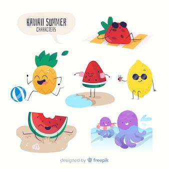 Kawaii summer characters
