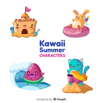 Kawaii summer elements set