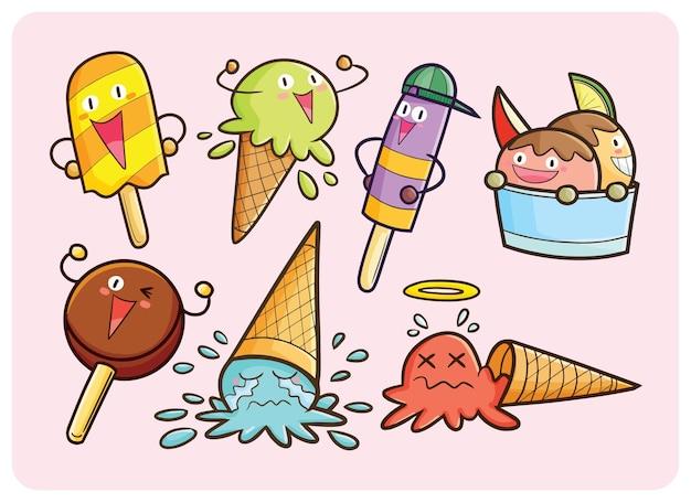 만화에서 귀여운 여름 아이스크림 마스코트 컬렉션