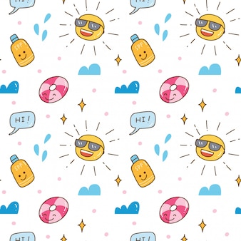 Kawaii summer seamless background