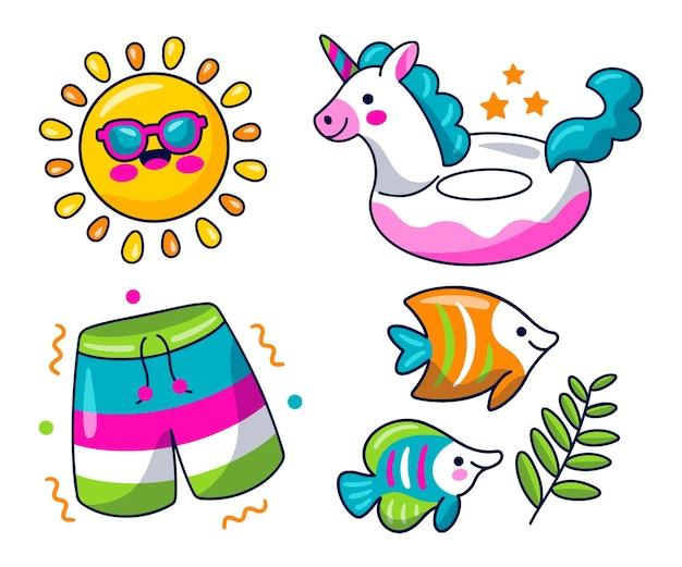 귀여운 여름 스티커 컬렉션