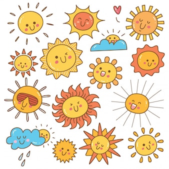 Kawaii sun doodle, summer sun design element