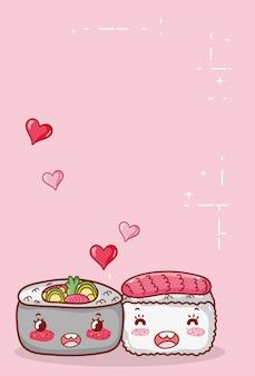 Каваи суши и суп рамен еда японский мультфильм, суши и роллы