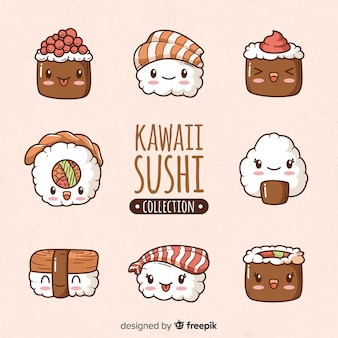 Kawaii sushi hand drawn collection