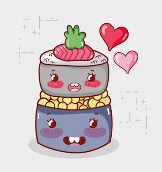Каваи суши ролл икра еда японский мультфильм, суши и роллы