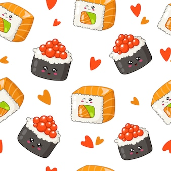 Kawaii sushi, rolls, chopsticks, bamboo leaves - seamless pattern or background, cartoon emoji