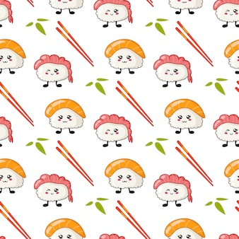 Kawaii sushi, rolls, chopsticks seamless pattern in manga style