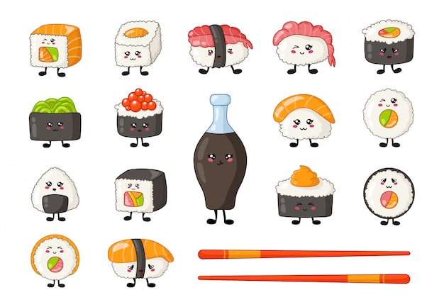Kawaii sushi, sashimi and rolls, chopsticks and soy sauce, cartoon smiling characters