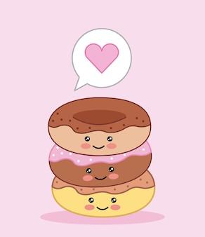 Kawaii sweet donuts love cartoon vector illustration