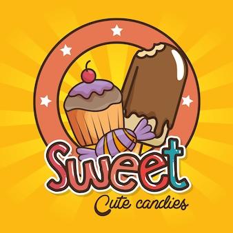 Kawaii sweets and candies cartoon