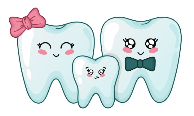 Kawaii teeth family - cute cartoon characters