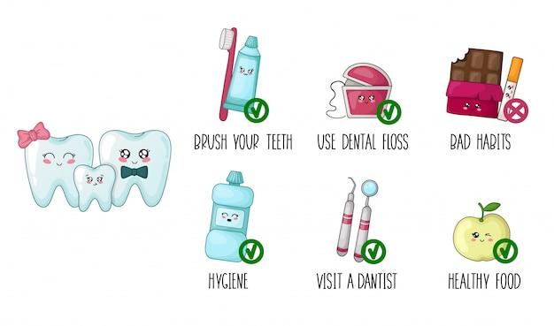 Kawaii teeth healthy habits of infographics of food brushing hygiene