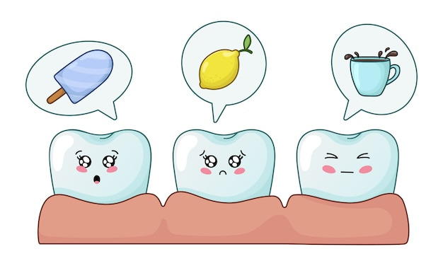Kawaii teeth with emodji, dental care, dentistry