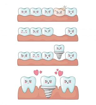 Kawaii teeth with emodji, dental care, dentistry