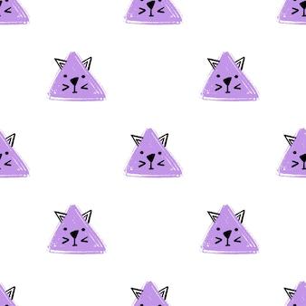 귀여운 삼각형 고양이 완벽 한 패턴입니다. 벡터 손 고양이의 얼굴로 배경을 그립니다. 끝 없는 배경 연필 파스텔 색상의 삼각형의 질감입니다. 포장용 템플릿, 베이비 텍스타일 프리미엄 벡터
