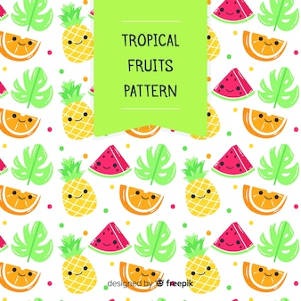 Kawaii tropical fruits pattern