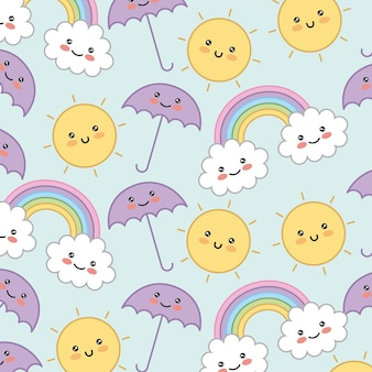 Kawaii umbrella rainbow cloud sun decorative background