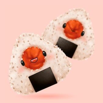 귀여운 우메보시 주먹밥 일러스트