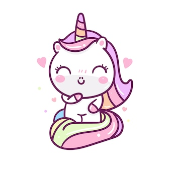 Kawaii unicorn cartoon hand drawn style
