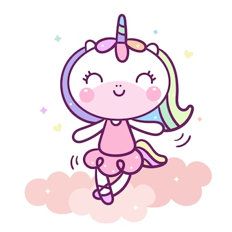 Kawaii unicorn character dancing on cloud