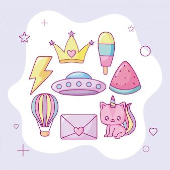Kawaii unicorn and cute icons, colorful design