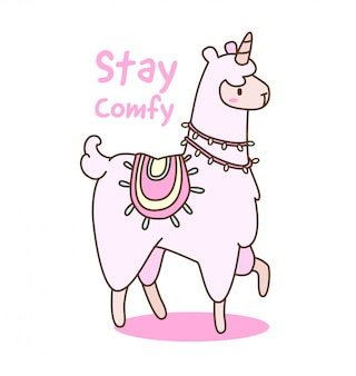 Kawaii unicorn llama with quote illustration