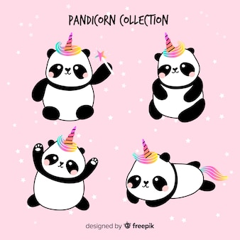 Kawaii unicorn style panda collection