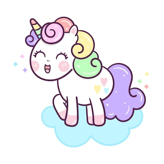 Kawaii unicorn vector on cloud hand drawn style