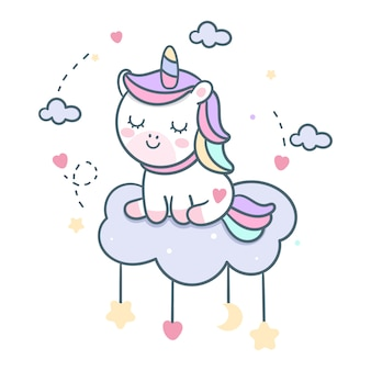 Kawaii unicorn vector on cloud