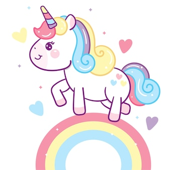 Kawaii unicorn vector on rainbow