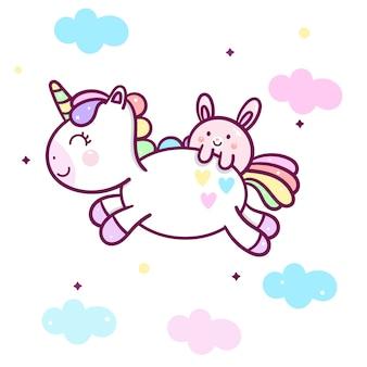Kawaii unicorn with rabbit cartoon