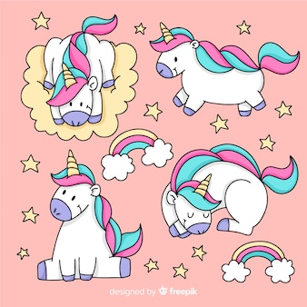 Нарисованная от руки коллекция kawaii unicorn