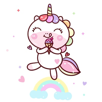 Kawaii unicorn вектор вкусное мороженое