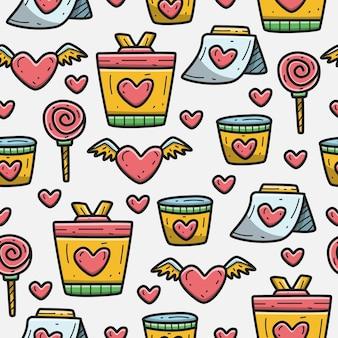귀여운 발렌타인 만화 낙서 패턴