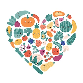 Kawaii vegetables and fruits in the shape of a heart