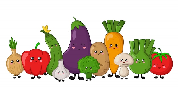 Kawaii vegetables - potato, carrots, cucumber, broccoli, celery