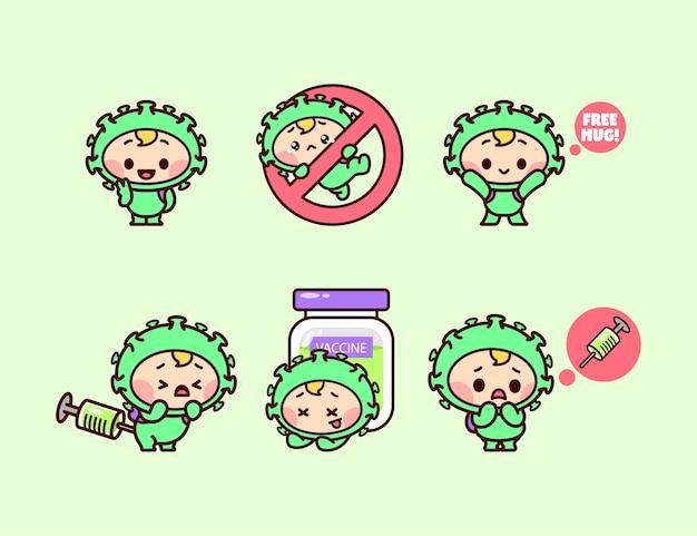 カワイイウイルスのキャラクターとワクチンのコレクションセット。