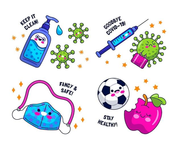 Collezione di adesivi virus kawaii Vettore gratuito