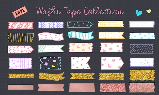 Kawaii washi tape hand drawn in pastel color