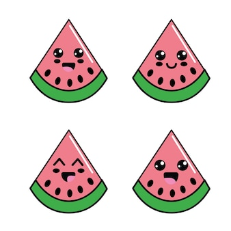 Kawaii watermelon diferents faces icon