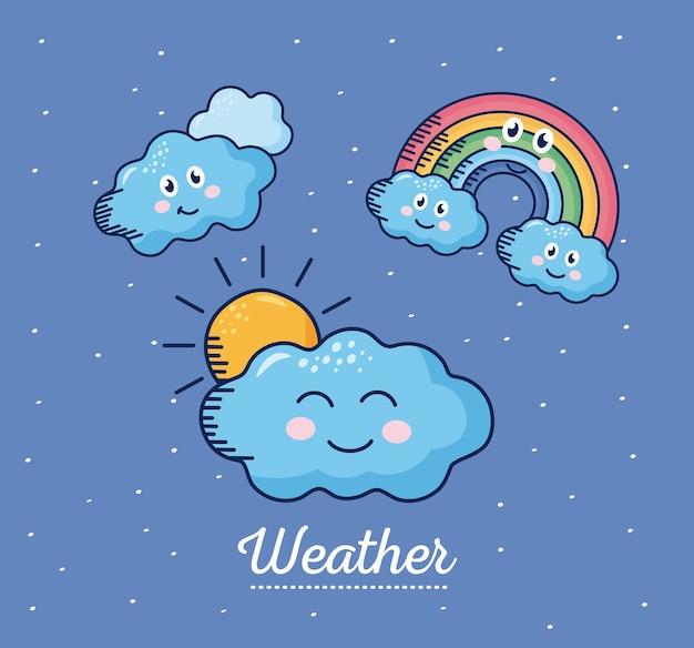 カワイイ天気漫画のキャラクターとレタリングのイラストデザイン