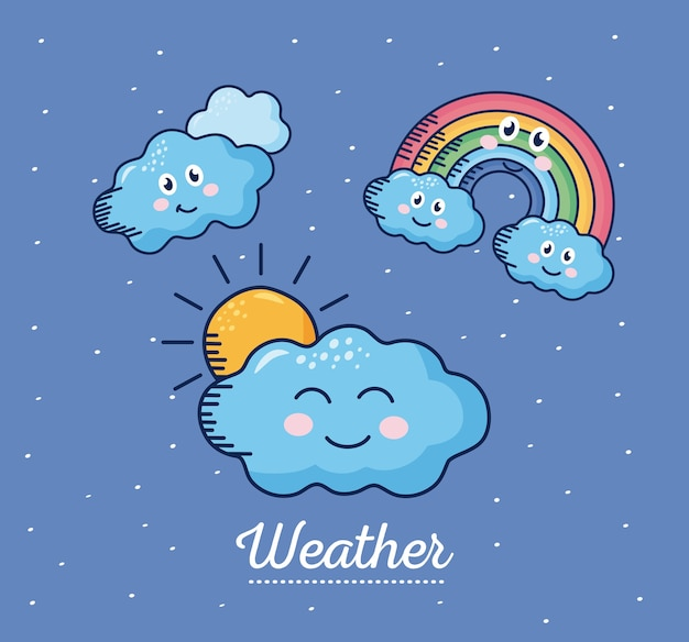 Kawaii weather comic characters and lettering illustration design