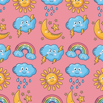 Kawaii weather comic characters pattern in pink illustration design