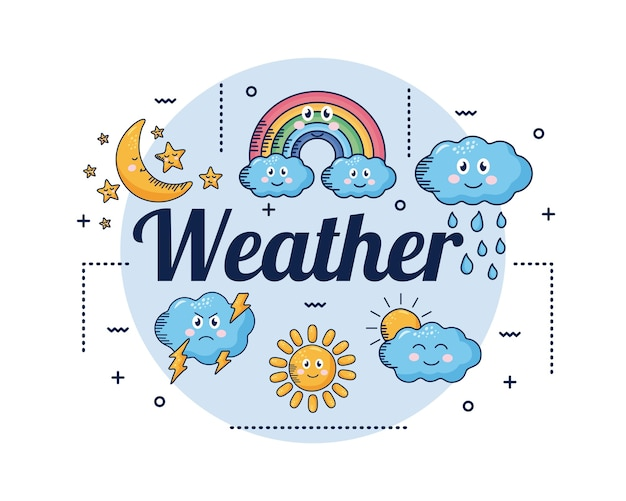 Kawaii weather comic set characters and lettering illustration design