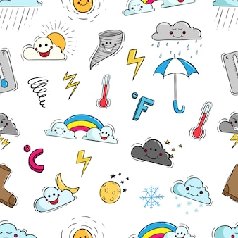 Kawaii weather elements in seamless pattern with doodle style